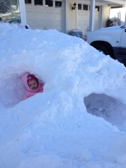 Briana in our snow fort